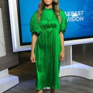 Zara SS19 Pleated Dress Green 2297/693